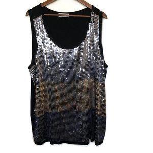 Design Story black tank  gold/ silver sequins 2X